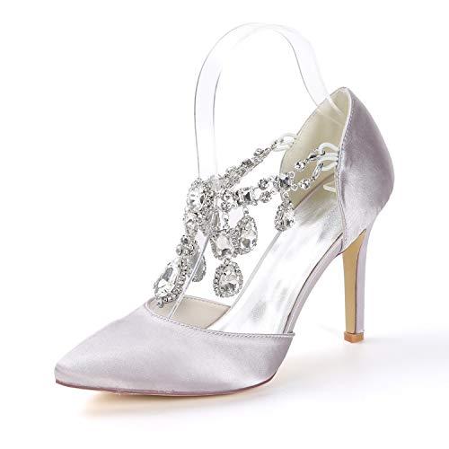 Gray Nupciales Alto Zapatos Rhinestones Toe 5cm Boda L De Peep Mujer yc Plataforma Novia Satén 9 Tacones Bombea Tacón PqPO86Unw
