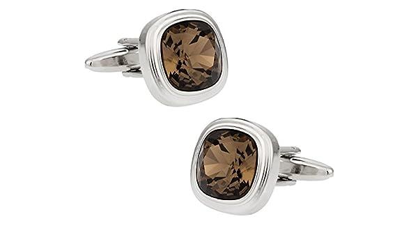 Mancuernas de cristal de Swarovski cuarzo ahumado: Cuff-Daddy: Amazon.es: Joyería