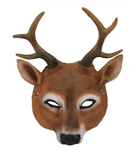 Pavian Deluxe Novelty Reindeer Deer Antlers Horn Mask Animal Head Face Disguise Adult Halloween Masquerade Costume Party Dress