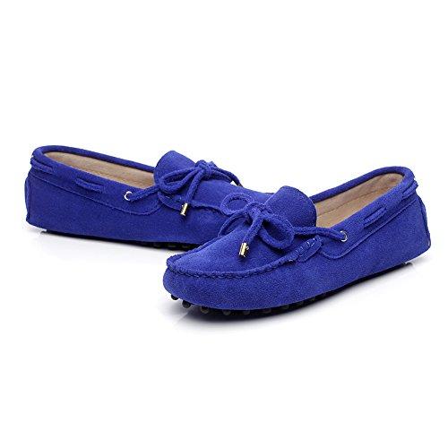 Shenn Mujer Clásico Cordón Bowknot Ante Mocasín Zapatillas Suave Hecho a Mano Mocasines de Conducción Azul Real
