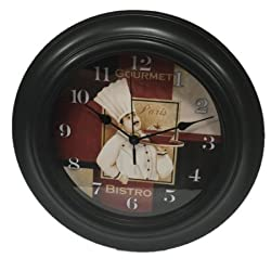 Better Homes & Gardens French Bistro Style Kitchen Wall Clock - Paris Chef