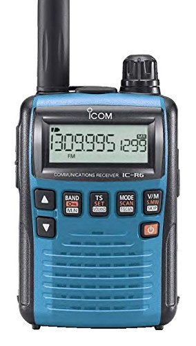 Cheap Icom R6 Sport Wide Band Handheld Communications Receiver, Requires 2 x AA Batteries, Blue