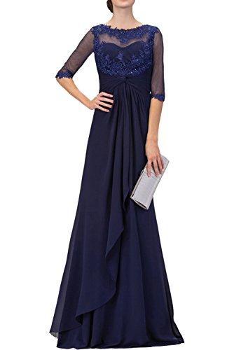 Spitze Braut mit La Langes Navy Abendkleider mit Brautmutterkleider Navy Blau mia Ballkleider Blau Langarm 8rqnfr50