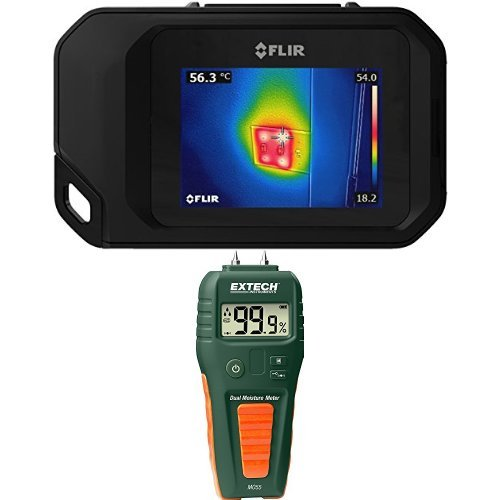 FLIR C3 Pocket Thermal Camera with WiFi with Extech MO55 Combination Pin/Pinless Moisture Meter by FLIR