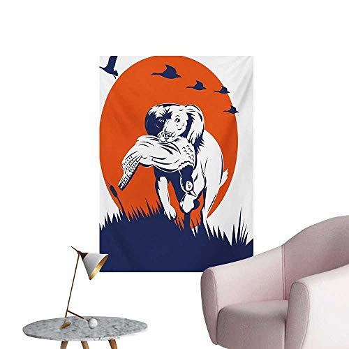 Anzhutwelve Hunting Wall Paper Cocker Spaniel Breed Dog Retrieving The Pheasant Flying Ducks at SunsetDark Blue Orange White W24 xL36 The Office -