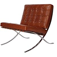 MLF Premium Version Pavilion Chair. Special Vintage Leather, High-elastic Foam Cushions & Seamless Visible Corners. Polished Stainless Steel Frame Riveted with Cowhide Saddle Straps