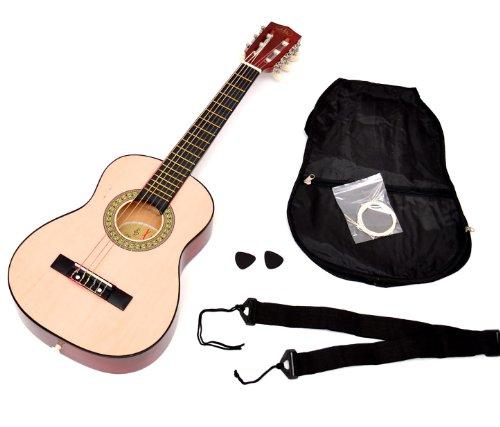 ts-ideen Kindergitarre Akustik Gitarre in der 1/4 Größe in Natur Braun für 4 - 7 Jahre mit Zubehörset: Gitarrentasche, Gurt und Ersatzsaiten