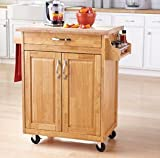Mainstays Kitchen Island Cart, Natural. This Stylish Kitchen Furniture Has a Solid Wood Top. Kitchen Island SALE!! Drawer and Cupboard Provide All Your Kitchen Storage Needs. Sturdy Wheels For Moving Around. Towel Bar and Spice Rack.