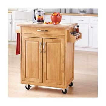 Home styles natural designer utility cart with for Home styles natural kitchen cart with storage