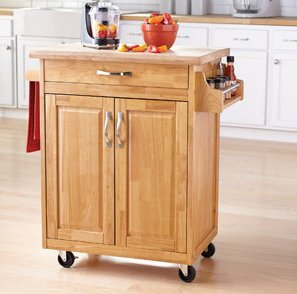 mainstays kitchen island cart natural  this stylish kitchen furniture has a solid wood top amazon com  mainstays kitchen island cart natural  this stylish      rh   amazon com