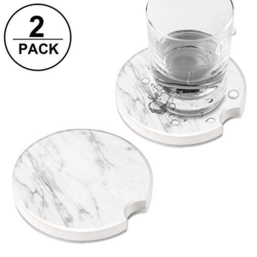 (Ceramic Mug Car Coasters for Cup Holders, TUTUWEN Absorbent Stone Drink Coaster Round Cup Mat Sets, Simple Car Accessories Prevent Water Stains Marks in Car -2 Pcs (2.56