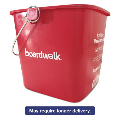 Boardwalk KP196RD Sanitizing Bucket, 6 qt, Red, Plastic ()