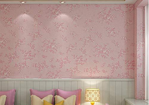 Junewind 3D Three-Dimensional Rose Pattern Wallpaper Self-Adhesive Waterproof PVC Decoration Dormitory Background Wall - Pink (0.610M)