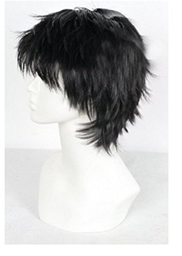 Short Black Men Fluffy Straight Anime Cosplay Heat Resistant Halloween Wig