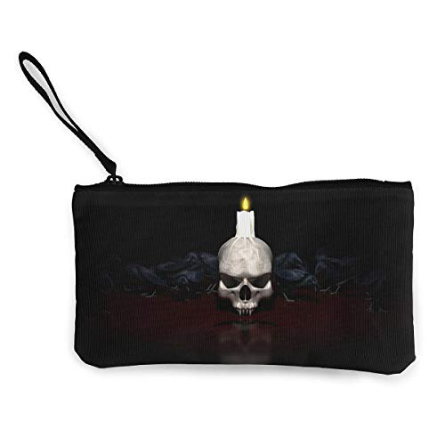 Oomato Canvas Coin Purse Skull Candle Fire Cosmetic Makeup Storage Wallet Clutch Purse Pencil Bag]()