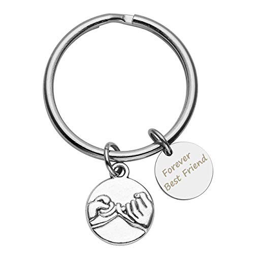 Personalized Master Free Engraving Custom Engraved Words Message Pinky Promise Charm BFF Friendship Keychain,Key Ring for Best Friend by Personalized Master