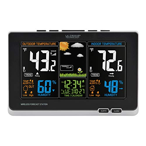 La Crosse Technology 308-1414B-INT 308-1414B Wireless Atomic Digital Color Forecast Station with Alerts, Black (Best Home Weather Station Wifi)