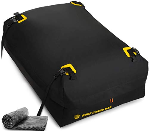 Car Top Carrier Roof Bag + Protective Mat - 100% Waterproof & Coated Zippers 15 Cubic ft - for Cars with or Without Racks