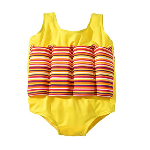 KONFA Baby Boys Girls One Piece Swimsuit Bathing Suit Little Kids/Toddler Swimwear Life Jacket Romper Swim Vest Cover Up (Yellow, 12-18 Months)