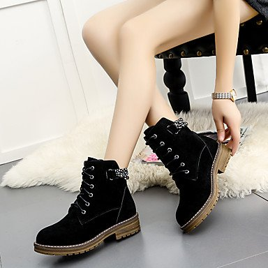 Heel Green Chunky Casual amp;xuezi Rivet Black Winter 1 Shoes Lace green Boots 4in Walking Nubuck Combat Fall Yellow Gll Boots leather 3 up Women's 1in 4waqZZH