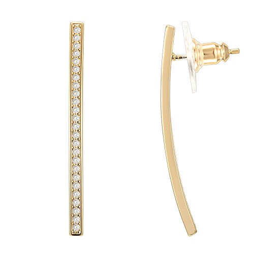 PAVOI 14K Yellow Gold Plated Curved Bar Earring Drop Stud Cubic Zirconia with Sterling Silver Post -