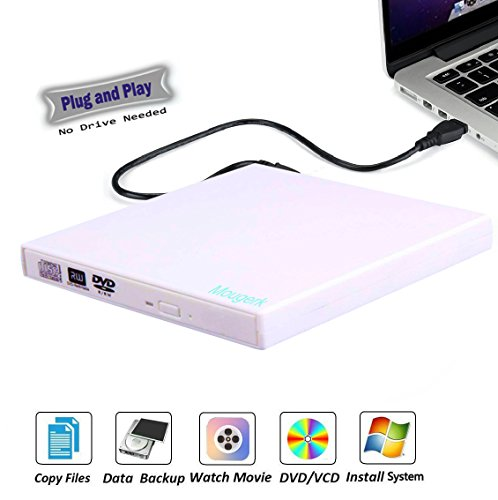 Mougerk USB External CD DVD Drive, Portable CD DVD Player +/-RW Drive DVD/CD ROM Rewriter Burner Writer Compatible Win 7 10 Laptop Desktop PC (White) by Mougerk
