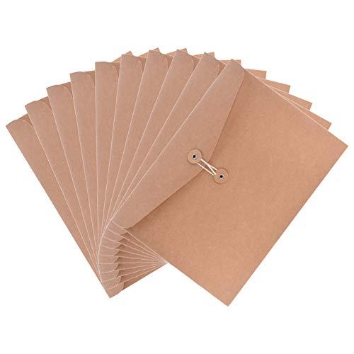 (Case Star 10 Pcs A4 Size Kraft Paper Project Envelope File Folder Document Bills Storage Organizer Bag Case Sleeve with String Fastener, Horizontal Version)