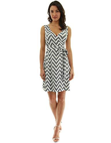 (PattyBoutik Women V Neck Sleeveless Print Dress (Ivory and Black 27 Small))