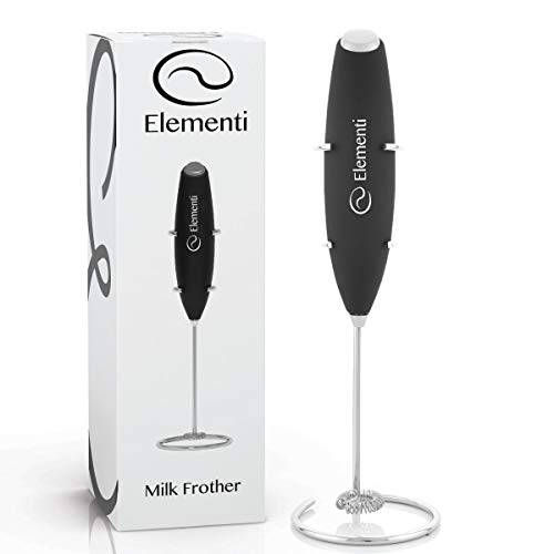 Milk Frother with Stand (Black) - Make Bulletproof and Keto Coffee, Lattes and Cappuccino at Home - Handheld with More Powerful High Torque Motor ()