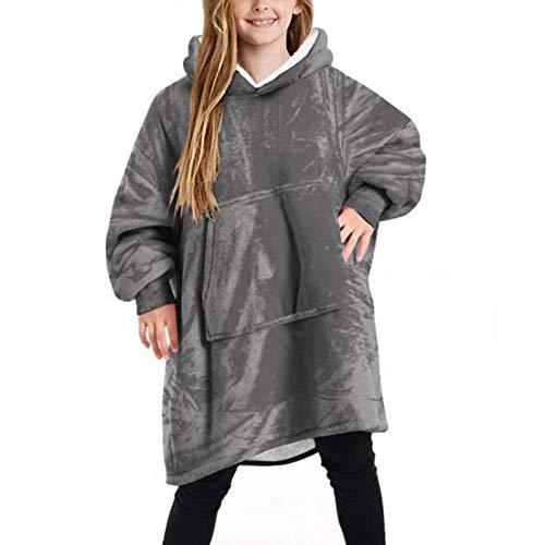 Oversized deken met capuchon voor kinderen, schattige pluizige Sherpa fleece capuchonsweatshirt met zak, voor kinderen…