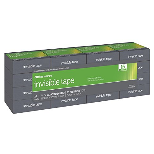 Office Depot Invisible Tape, 3/4in. x 1296in, Pack Of 16, OD-IB3436-16