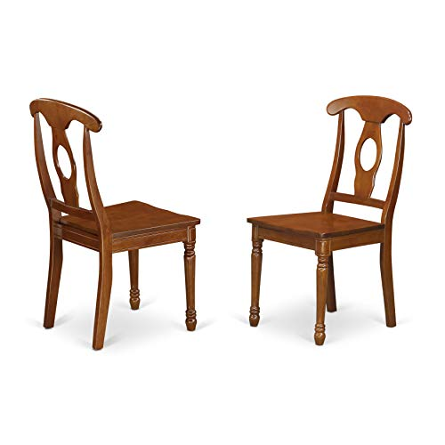 East West Furniture NAC-SBR-W Styled Chair Set with Wood Seat, Set of 2