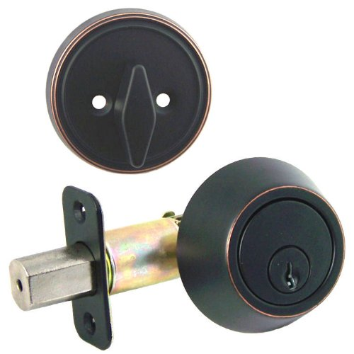 Designers Impressions Oil Rubbed Bronze Single Cylinder Deadbolt Kwikset Keyway (We Key Lock Orders Alike for Free) ()