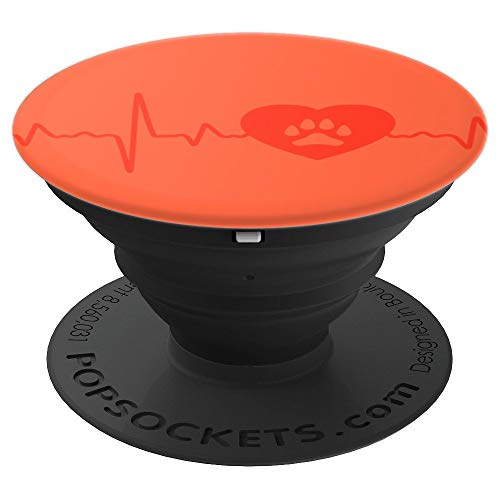 Spicy Orange Paw Print Heartbeats - PopSockets Grip and Stand for Phones and Tablets