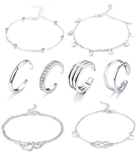 LOYALLOOK 8-12Pcs Beach Anklets Bracelets Toe Rings Foot Jewelry Alloy Chain Set Adjustable for Women