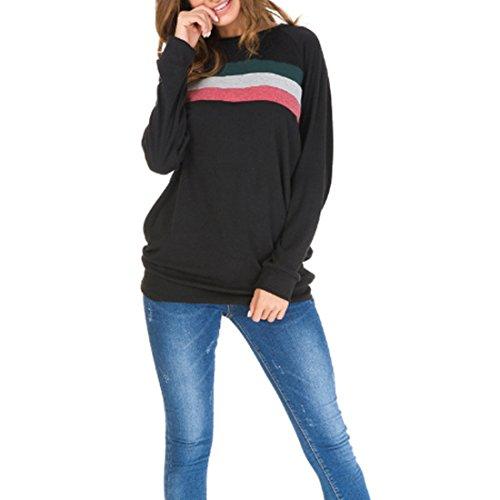 Contrasto Nero T Donna da Lunga in Manica Shirt MUCHAO a a Tinta Tondo con Scollo e Lunghe Unita Maniche UdqTCw