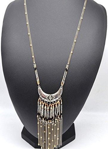 CL1008F - Sautoir Collier Fines Chaînes Pendentif Demi Lune Ethnique avec Tombée de Perles et Chaînes Gris - Mode Fantaisie