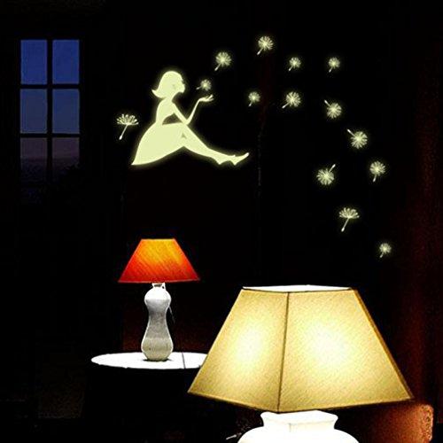 Malloom Dandelion Girl Luminous Glow in Dark Cartoon Kids Removable Vinyl Wall Sticker