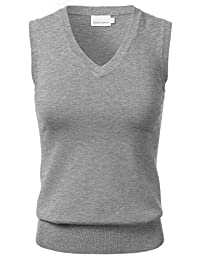 FLORIA Mujer Clssic sólido Cuello en V sin Mangas Pullover Sweater Chaleco Parte Superior