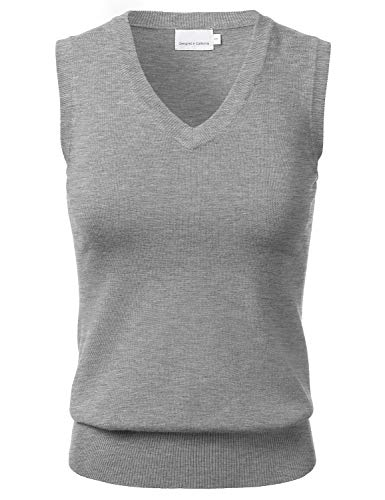 - Women's Solid Classic V-Neck Sleeveless Pullover Sweater Vest Top HEATHERGREY S