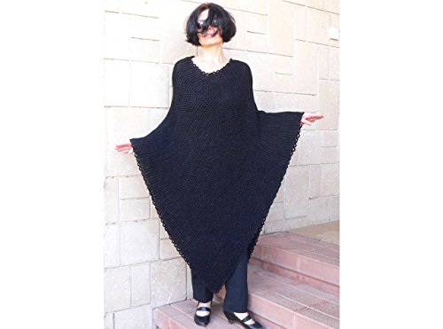 Women black bulky poncho by MK HandMade