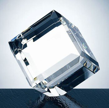 Beveled Optical Crystal Diamond Cube Paperweight - Medium