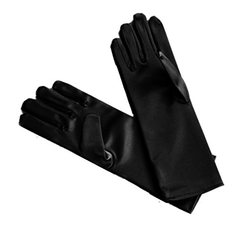 DreamHigh Kids Formal Stretch Satin Long Finger Gloves for Girl Children Party (Black)