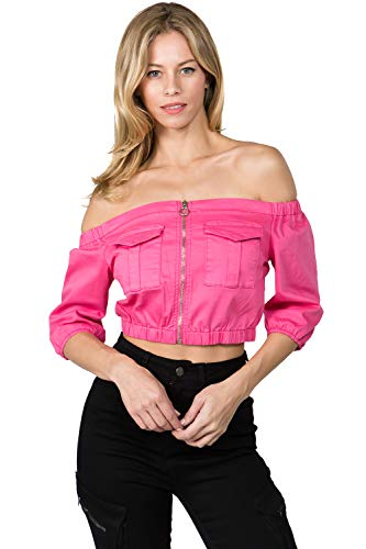 (TwiinSisters Women's Off Shoulder Ruffle Cropped Zipper Closure Jacket Size Small to 3X)