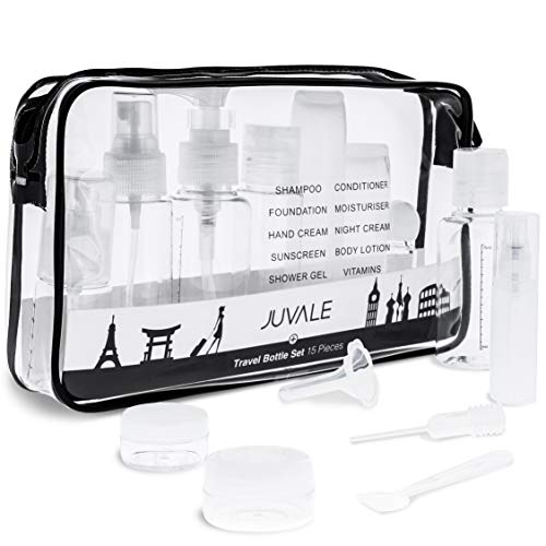 - Juvale 15-Pack Refillable Toiletry Containers and Accessories with Clear Travel Bag - TSA Approved - Jars, Spray, Pump, and Squeeze Bottles