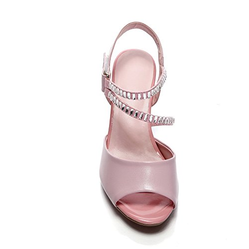 AmoonyFashion Womens Open Toe Hook-and-loop Cow Leather Solid High-Heels Sandals Pink Lgh1Q19mp