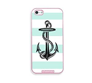 Anchor On Mint Stripes Pink Plastic Case For Iphone 5/5S Cover - Fits Case For Iphone 5/5S Cover