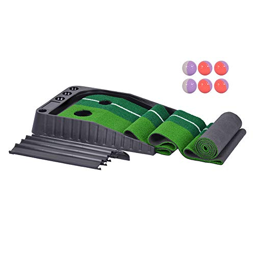 Xcellent Global Indoor Outdoor Golf Set Ball Auto Return Hazard Putting Mat, Professional Portable Practice Mini Golf Trainer Putting Green with Return and 6 Balls