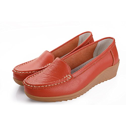 On Casual Orange Loafers Leather Women's Slip Slippers Labato Shoes Flat Driving gwPFqXxXn5