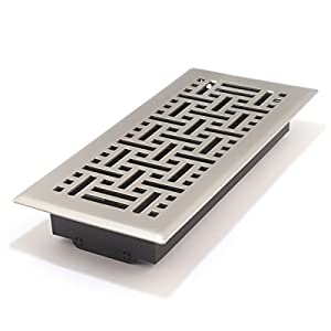 Accord AMFRSNB410 Floor Register with Wicker Design, 4-Inch x 10-Inch(Duct Opening Measurements), Satin Nickel